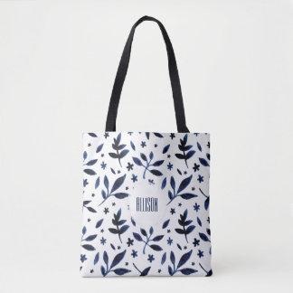 Modern Boho Indigo Watercolor Leaves | Tote Bag