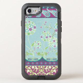 Modern Boho Paisley Floral Navy Purple Leaf Swirl OtterBox Defender iPhone 8/7 Case