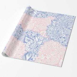 Modern boho pink blue mandala floral illustration
