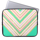 Modern boho pink gold turquoise chevron pattern laptop sleeve