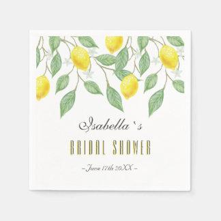 Modern Boho Watercolor Lemon Summer Bridal Shower Paper Serviettes