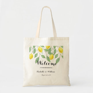 Modern Boho Watercolor Lemon Summer Favor Tote Bag