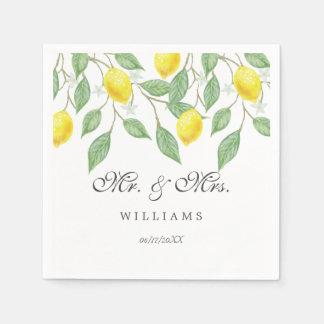 Modern Boho Watercolor Lemon Summer Wedding Paper Serviettes