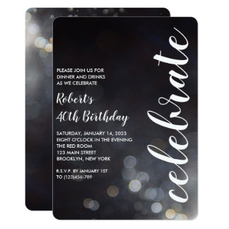 Modern Bokeh Lights Birthday Party Invitation