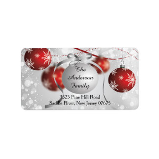 Modern Bokeh Snowflake Christmas Return Address Address Label