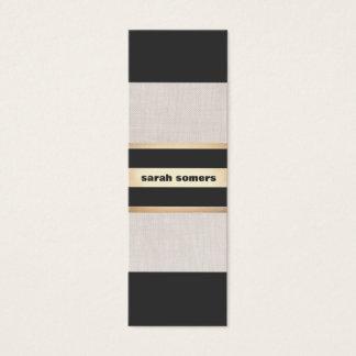 Modern Bold Black, Linen and Gold Striped Stylish Mini Business Card