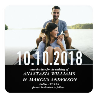 MODERN BOLD BLACK PHOTO SAVE THE DATE CARD