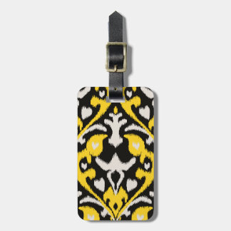 Modern bold black yellow ikat tribal pattern tags for luggage