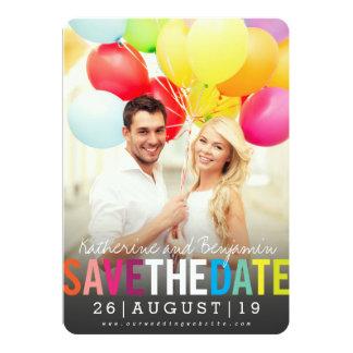Modern Bold Colourful Rainbow Save The Date Photo 13 Cm X 18 Cm Invitation Card