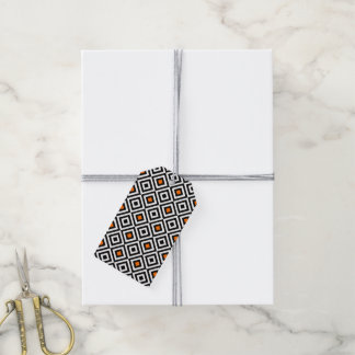 Modern Bold Diamond Pattern (Orange) Gift Tags
