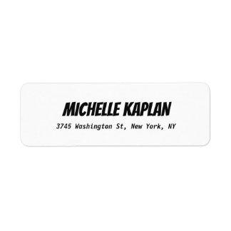Modern Bold Elegant Plain Black & White Return Address Label