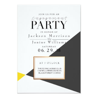 Modern Bold Geometric Engagement Party 13 Cm X 18 Cm Invitation Card