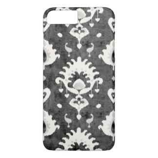 Modern bold grey black ikat tribal pattern iPhone 7 plus case