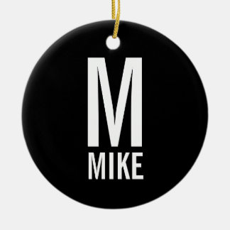 Modern Bold Personalized Monogram and Name Ceramic Ornament
