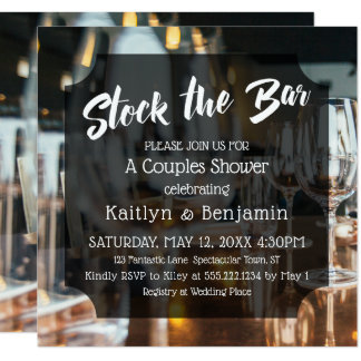 Modern, Bold Stock the Bar Couples Shower Card