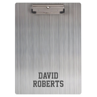 Modern Bold Text Elegant Silver Metal Background Clipboards