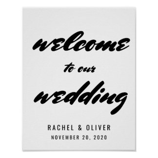 Modern Bold Typography Welcome Wedding Sign Poster