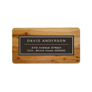 Modern Bold Wood Grain Stylish Look Address Label