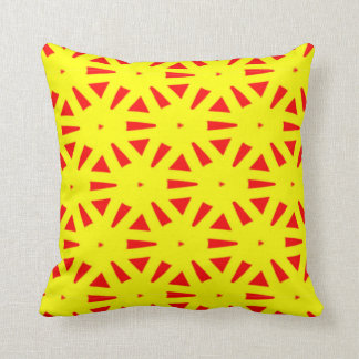 Modern Bold Yellow and Red Suns Abstract Cushion