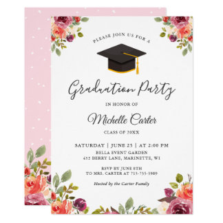 Modern Botanical Floral Girl Grad Graduation Party Card