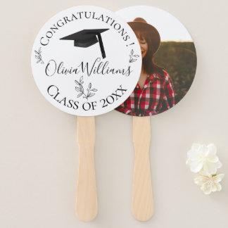 Modern Botanical Graduation Cap Photo Hand Fan