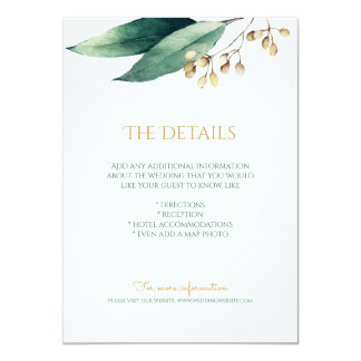 Modern botanical greenery rustic details card