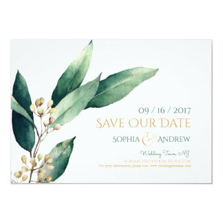 Modern botanical greenery rustic save the date card
