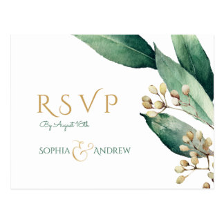 Modern botanical greenery rustic wedding RSVP Postcard