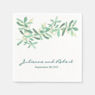 Modern Botanical Greenery Wedding Napkins Disposable Napkin