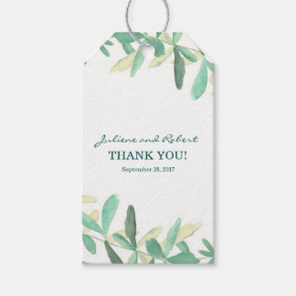 Modern Botanical Greenery Wedding Thank You Gift Tags