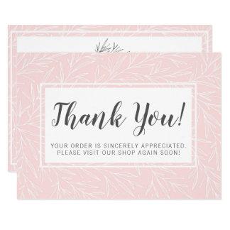 Modern Botanical Leaf Blush Minimalist Thank You Card
