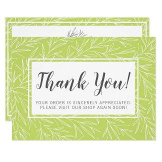 Modern Botanical Leaf Green Minimalist Thank You Card