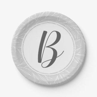 Modern Botanical Leaf Silver Monogram Wedding Paper Plate