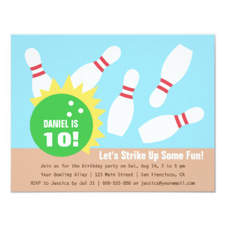 Modern Bowling Birthday Party Invitations