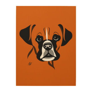 Modern Boxer Dog Art Wood Canvases
