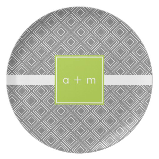Modern Boxes Grey with Lime Melamine Plate