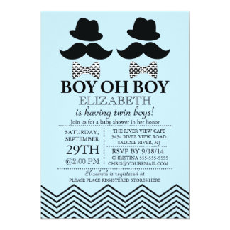 Modern Boy Little Man Mustache TWINS Baby Shower 5x7 Paper Invitation Card