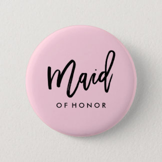 Modern Bridal Party Maid of Honor 6 Cm Round Badge