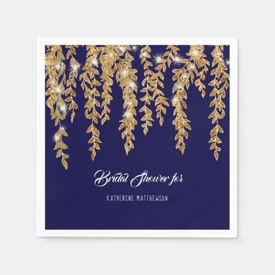 Modern Bridal Shower Navy Gold Twinkle Lights Leaf Disposable Napkins