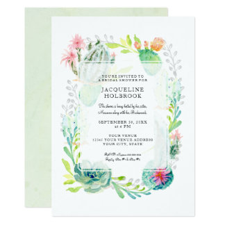 Modern Bridal Shower Watercolor Desert Cactus Art Card