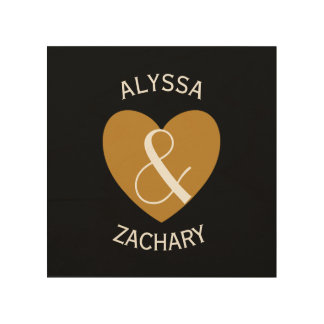 Modern Bride and Groom Gold Heart Curved Text Z04 Wood Canvases