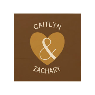 Modern Bride and Groom Gold Heart Curved Text Z05 Wood Prints