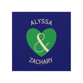 Modern Bride and Groom Green Heart Curved Text Z03 Wood Prints