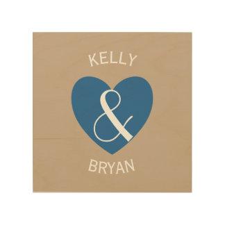 Modern Bride and Groom Navy Blue Heart Z06 Wood Print