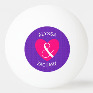 Modern Bride and Groom Pink Heart Ping Pong Ball