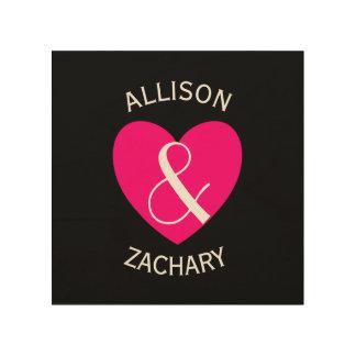 Modern Bride and Groom Pink Heart Z03 Wood Print