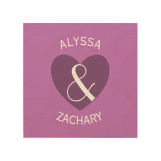 Modern Bride and Groom Purple  Heart Curved Text Z Wood Canvas