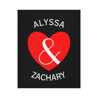 Modern Bride and Groom Red Heart Curved Text A38 Stretched Canvas Print