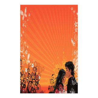 Modern Bride & Groom Sunset Custom Stationery