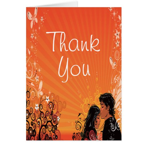 Modern Bride & Groom Sunset Wedding Thank You Greeting Cards